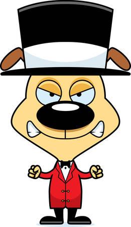 ringmaster: A cartoon ringmaster puppy looking angry.
