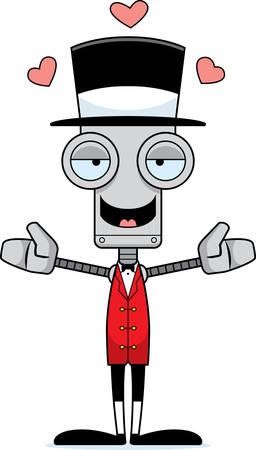ringmaster: A cartoon ringmaster robot ready to give a hug. Illustration