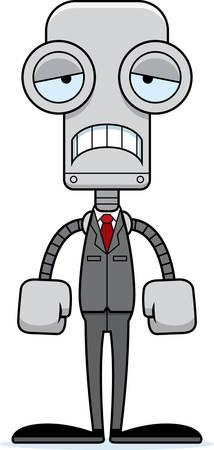 businessperson: A cartoon businessperson robot looking sad.