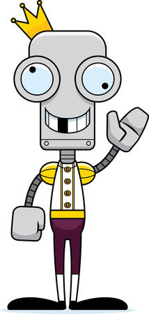 silly: A cartoon prince robot looking silly.