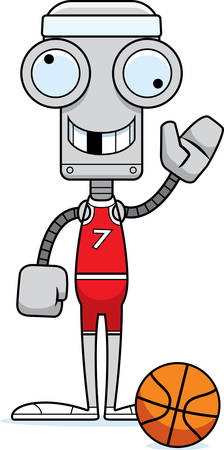 silly: A cartoon basketball player robot looking silly. Illustration