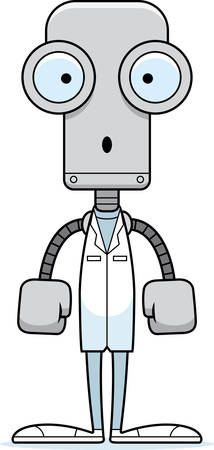 A cartoon doctor robot looking surprised. Ilustração