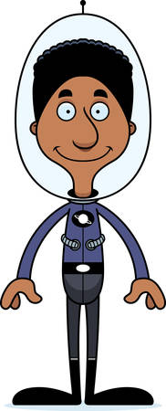 spacesuit: A cartoon spaceman man smiling.