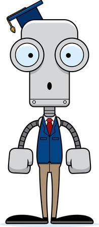cartoon graduation: Un robot maestro de dibujos animados que parece sorprendida. Vectores