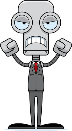 businessperson: A cartoon businessperson robot looking angry. Illustration