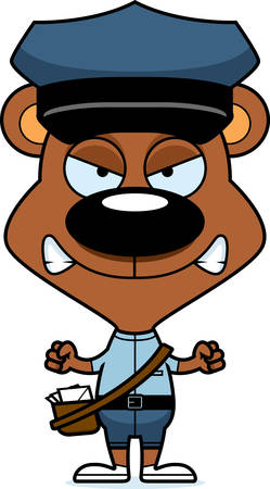 mail carrier: A cartoon mail carrier bear looking angry.