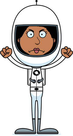 spacesuit: A cartoon astronaut woman looking angry.