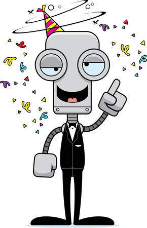 intoxicated: A cartoon party robot looking drunk. Illustration
