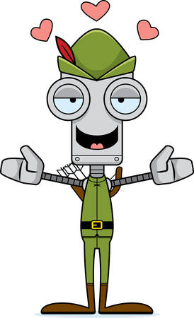 robin hood: A cartoon Robin Hood robot ready to give a hug.