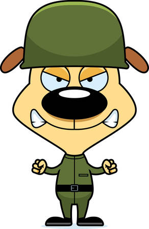 angry dog: A cartoon soldier puppy looking angry.