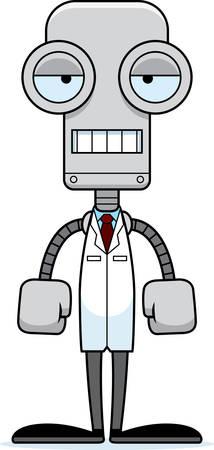 A cartoon scientist robot looking bored. Illusztráció