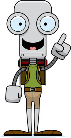 talking robot: A cartoon hiker robot with an idea. Illustration