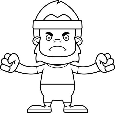 sasquatch: A cartoon fitness sasquatch looking angry.