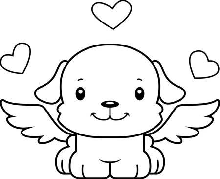 만화 큐피드 강아지 미소. 일러스트