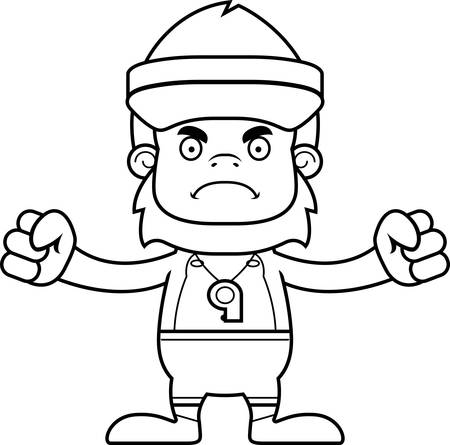 hat with visor: A cartoon lifeguard sasquatch looking angry. Illustration