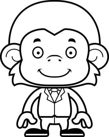 businessperson: A cartoon businessperson monkey smiling.