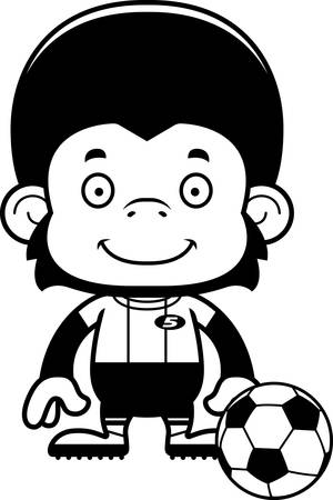 chimpanzee: A cartoon soccer player chimpanzee smiling.