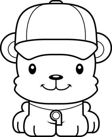 A cartoon  bear smiling. Illustration