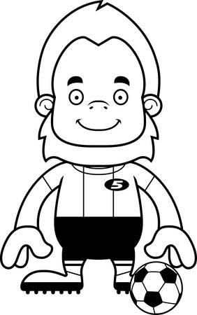 sasquatch: A cartoon soccer player sasquatch smiling. Illustration