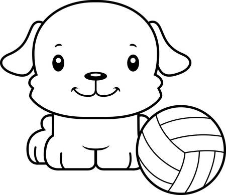 A cartoon volleyball player puppy smiling. Ilustração