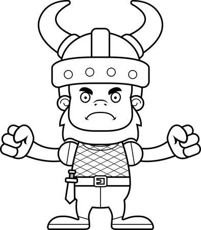 sasquatch: A cartoon Viking sasquatch looking angry. Illustration