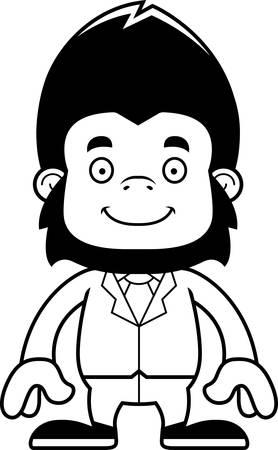 businessperson: A cartoon businessperson gorilla smiling. Illustration