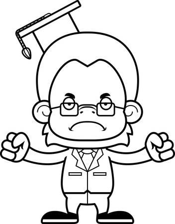 A cartoon teacher orangutan looking angry.