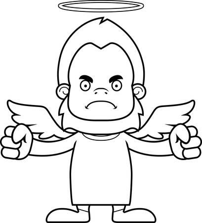 sasquatch: A cartoon angel sasquatch looking angry.