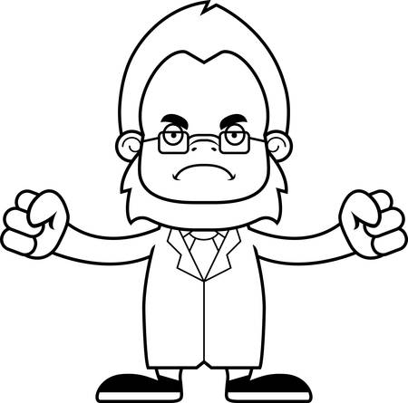 researcher: A cartoon scientist sasquatch looking angry. Illustration