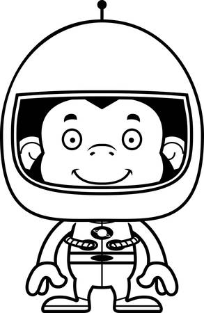 chimpanzee: A cartoon astronaut chimpanzee smiling. Illustration