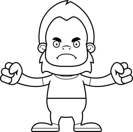 sasquatch: A cartoon sasquatch looking angry.