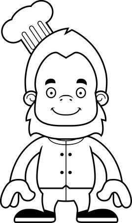 sasquatch: A cartoon chef sasquatch smiling.