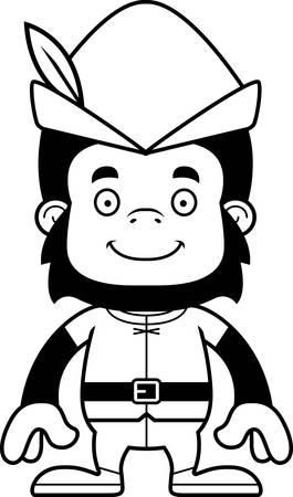 robin hood: A cartoon Robin Hood gorilla smiling. Illustration