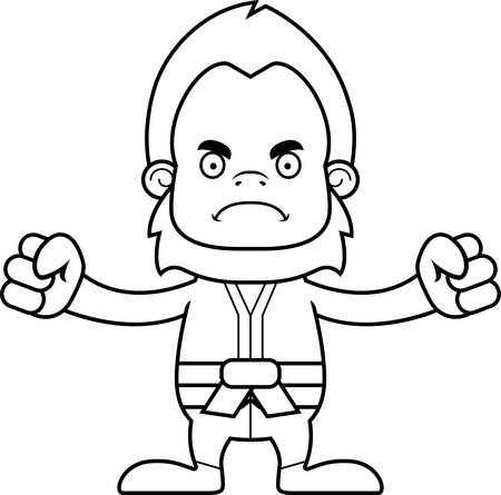 gi: A cartoon karate sasquatch looking angry. Illustration