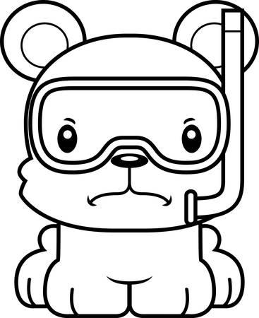 眉根を寄せた漫画シュノーケル クマ。  イラスト・ベクター素材