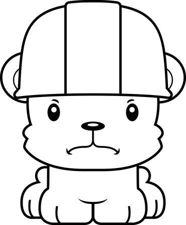 tool belt: A cartoon construction worker bear looking angry.