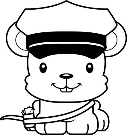 A cartoon mail carrier mouse smiling. Ilustração