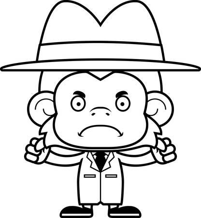 A cartoon detective monkey looking angry. Çizim