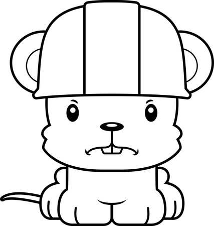 rata caricatura: Un trabajador de la construcci�n del rat�n de dibujos animados buscando enojado.