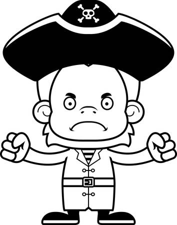 orangutan: A cartoon pirate orangutan looking angry.