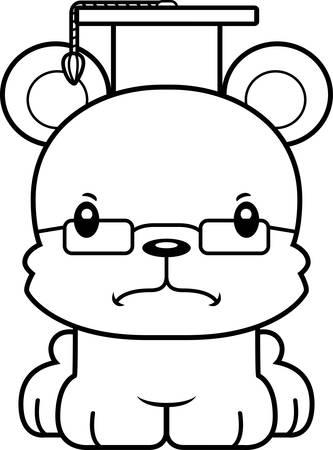 A cartoon teacher bear looking angry. Ilustração