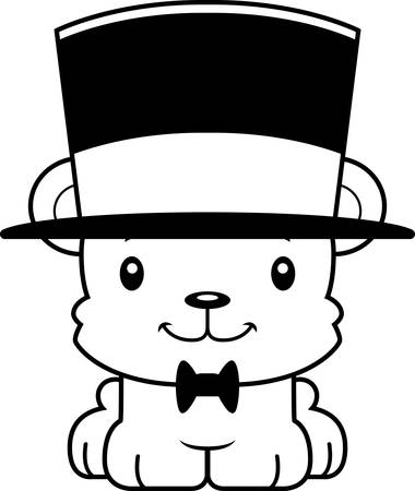 top hat: A cartoon bear smiling in a top hat.