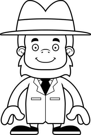 sasquatch: A cartoon detective sasquatch smiling.