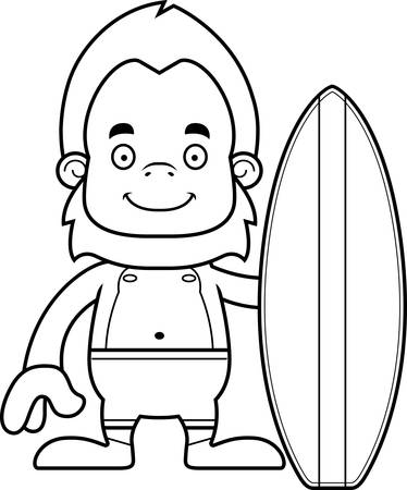 sasquatch: A cartoon surfer sasquatch smiling.