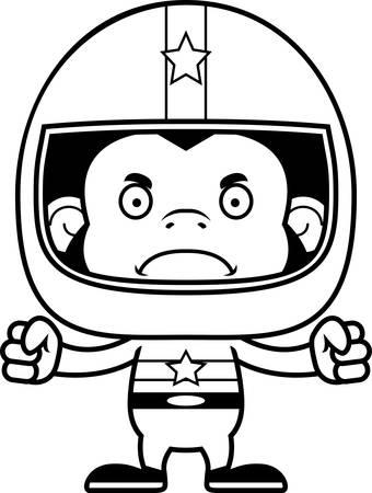 race car driver: A cartoon race car driver chimpanzee looking angry.