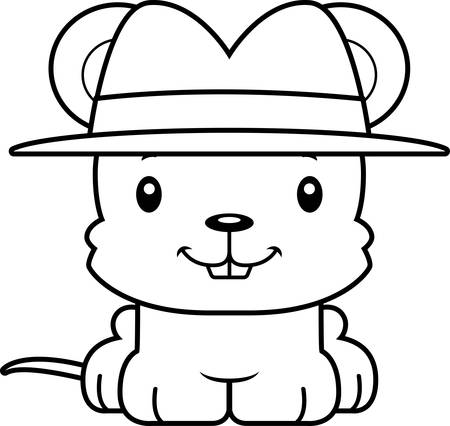 A cartoon detective mouse smiling.