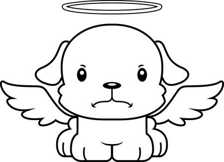 angry angel: A cartoon angel puppy looking angry.