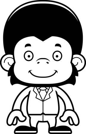 businessperson: A cartoon businessperson chimpanzee smiling.