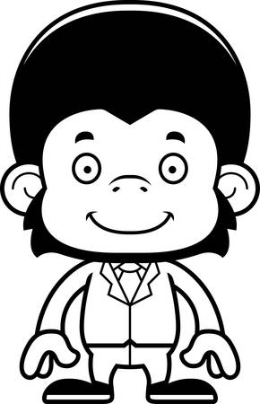 A cartoon businessperson chimpanzee smiling.
