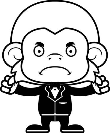 monkey suit: A cartoon groom monkey looking angry.
